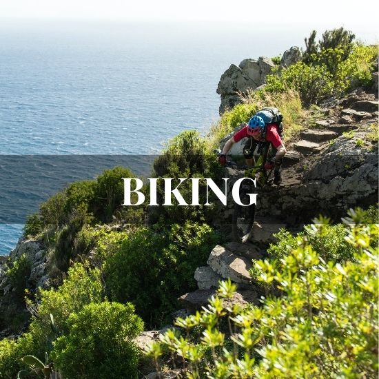 Bike riding on stairs on the edge of a cliff